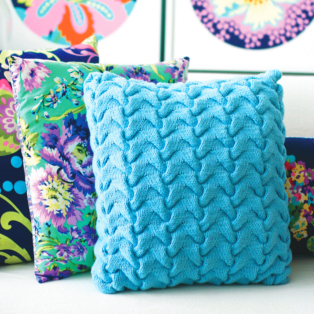 Free Cushion Cover Knitting Patterns : Update A Sofa With A Funky Cable Cushion Knitting Pattern