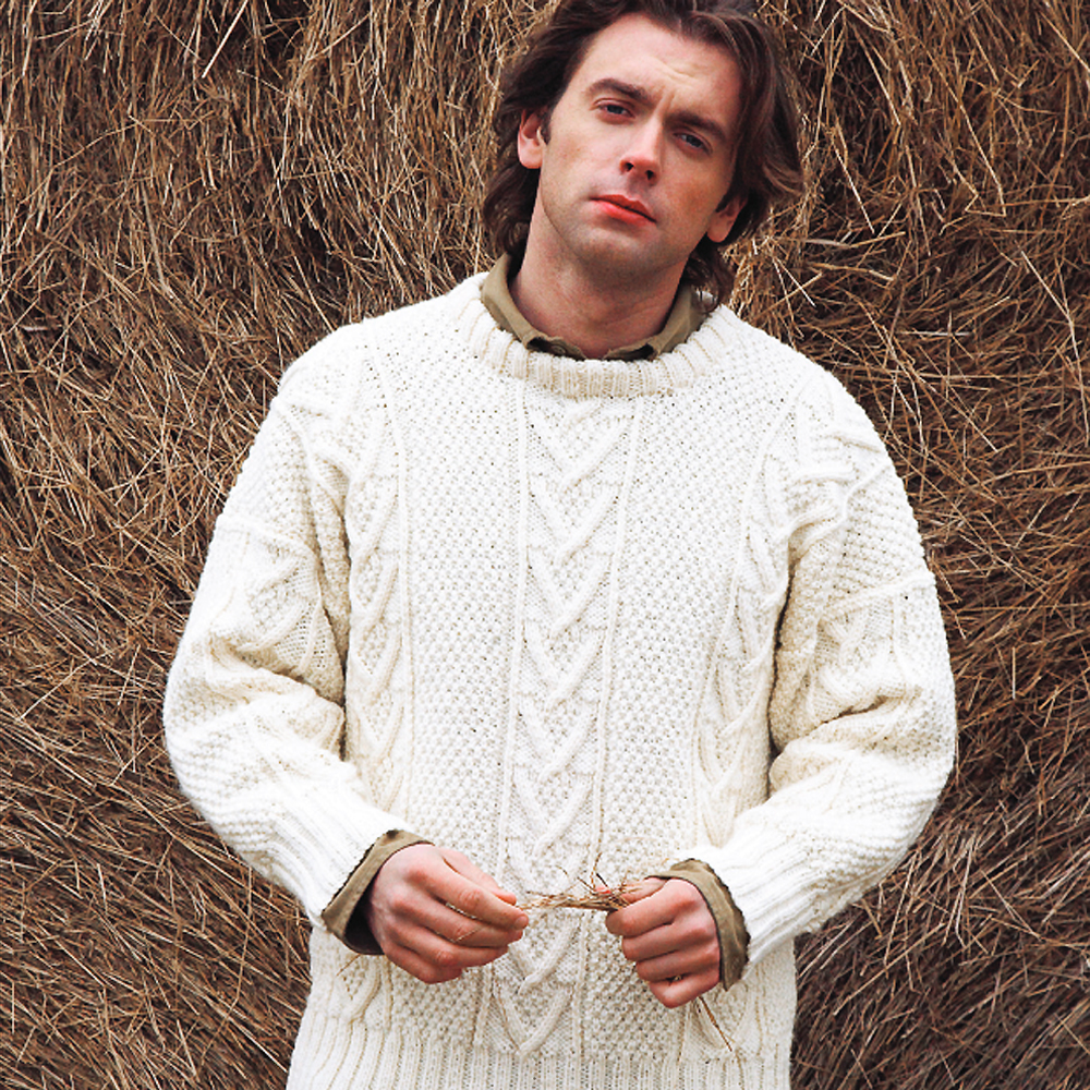 Free Knitting Patterns Bags : Knit A Real Mans Classic: Free Aran Jumper Knitting Pattern