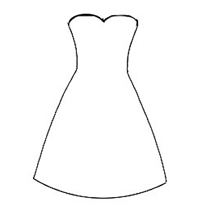 strapless dress outline template
